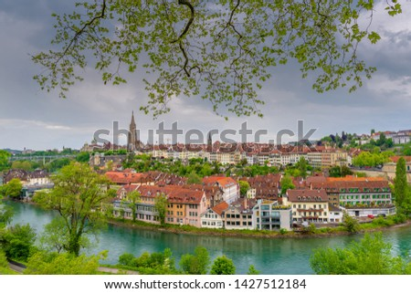 Cityscape Capital City of Bern, Switzerland, Panoramic Scenery Old Town View and Swiss Architectural Building in Bern. Travel Destination and Vacation Famous Places. #1427512184