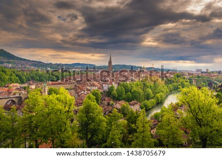 Cityscape Capital City of Bern, Switzerland, Panoramic Scenery Old Town View and Swiss Architectural Building in Bern. Travel Destination and Vacation Famous Places. #1438705679