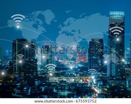 Cityscape connected line with wifi sign communication, Network connection concept, internet of things conceptual #675593752