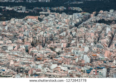 Cityscape Detail of Houses and Buildings in Athens City