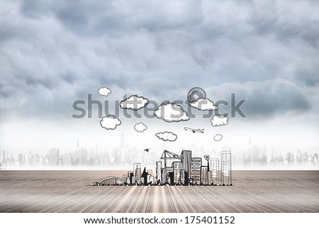 Cityscape doodle against city on the horizon