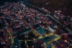Cityscape from a drone. Moody city of Blagoevgrad, Bulgaria.
