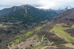 Cityscape from of the Cathar castle of Montsegur in Ariege, Occitanie in south of France.