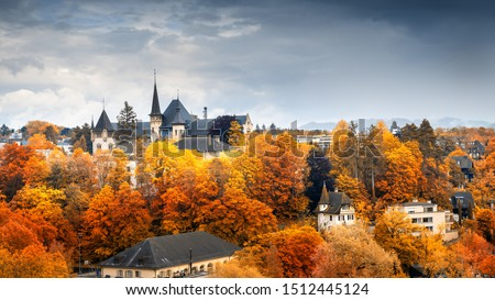 Cityscape Historical Architecture Building of Bern at Autumn Season, Switzerland, Capital City Landscape Scenery and Historic Town Places of Bern., Architectural Urban Downtown of Swiss Culture