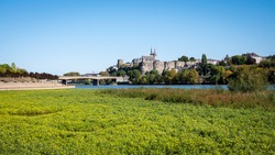 Cityscape in Angers (western France) in the maine-et-loire department. Very bright day, blue sky. Vegetation in the foreground.