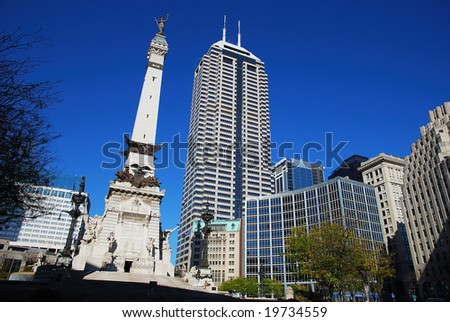 cityscape in downtown Indianapolis, Indiana