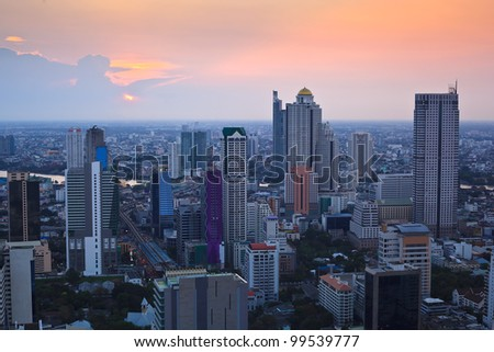 cityscape in the middle of Bangkok in thailand at sunset time - stock photo