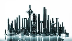 Cityscape, made with nuts and bolts