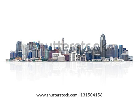 cityscape, modern building on a white background.