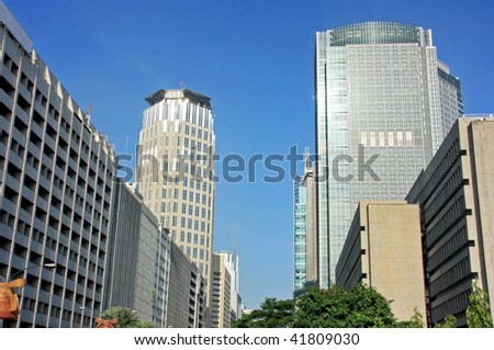 Cityscape of a business district