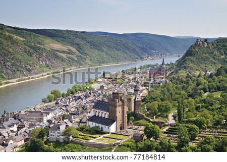 Cityscape of Bacharach in the Rhine valley, Rhineland Palatine, Germany
