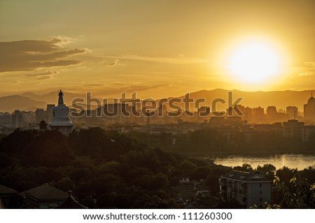 Cityscape of Beijing during the sunset