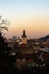 Cityscape of Brasov, Romania. During goldenhour.