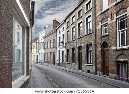 Cityscape of Bruges streets, Belgium.