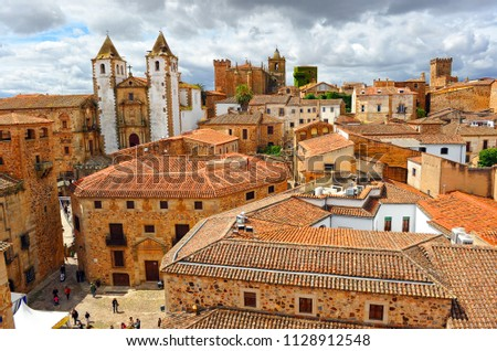 Cityscape of Caceres, World Heritage City, awarded by Unesco. Extremadura Region , Spain