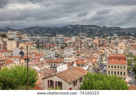 Cityscape of central Cannes during tungsten day before festival, France, Europe.