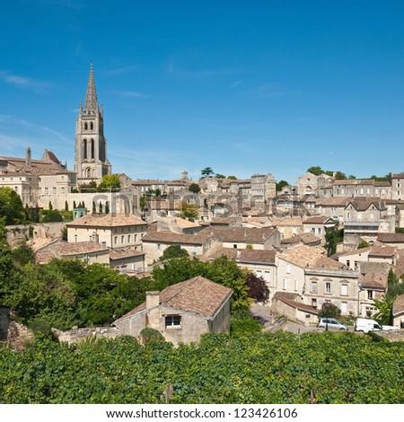 Cityscape of central Saint-Emilion, Gironde, Aquitaine, France  (A UNESCO World Heritage Site) Photo stock ©