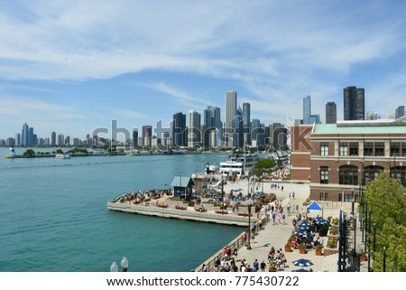 Cityscape of Chicago and Navy Pier Park #775430722