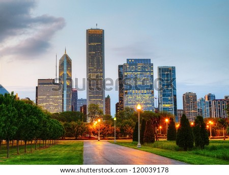 Cityscape of Chicago as seen from the Central Park in the evening