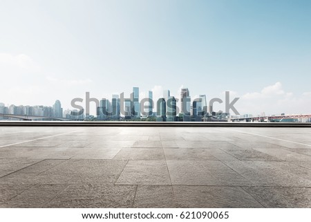 cityscape of chongqing from empty brick floor #621090065