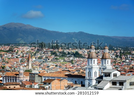 Shutterstock Cityscape of Cuenca, Ecuador with Santo Domingo church visible in the bottom right