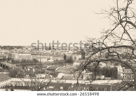 cityscape of Czech capital Prague-photo in old retro style