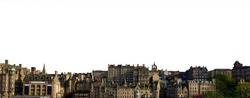 Cityscape of Edinburgh (Scotland, UK) isolated on white background