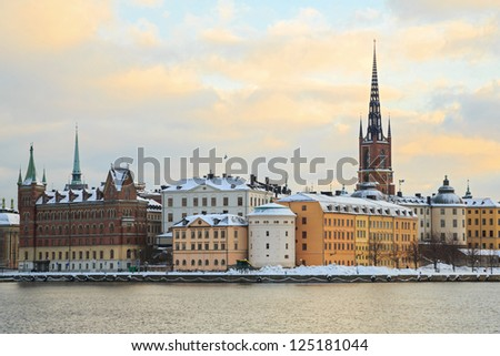 Cityscape of Gamla Stan Old Town Stockholm city Sweden
