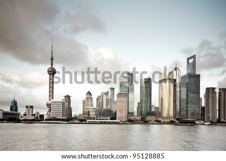 cityscape of huangpu river and the the bund in shanghai,China - stock photo
