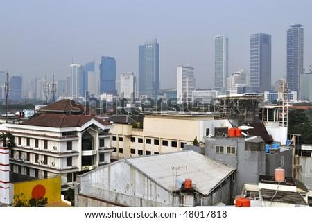Cityscape of Indonesia capital city Jakarta. - stock photo
