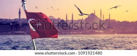 Cityscape of Istanbul with silhouettes of ancient mosques and minarets at sunset. Panoramic view on the old city and flying seagulls on blur background with turkish flag and ship in front.