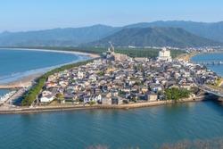 Cityscape of Karatsu city, panorama view from the top of Karatsu castle, Saga, Kyushu, Japan