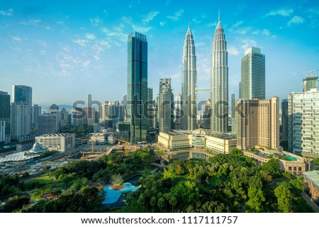 Cityscape of Kuala Lumpur Panorama at sunrise. Panoramic image of skyscraper at Kuala Lumpur, Malaysia skyline with blue sky. #1117111757