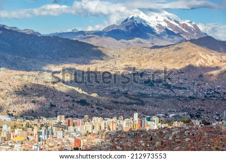 Shutterstock Cityscape of La Paz, Bolivia with Illimani Mountain rising in the background