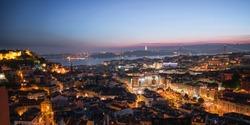 Cityscape of Lisbon, Portugal by night. Sunset Lisbon.