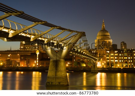 Cityscape of London at the blue hour with Saint Paul's cathedral, England