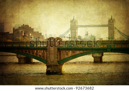 cityscape of London with Southwalk Bridge and Tower Bridge
