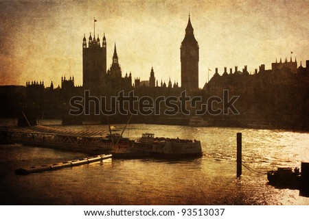 cityscape of London with vintage style textures