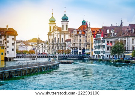 Cityscape of Lucerne in the evening, Switzerland #222501100