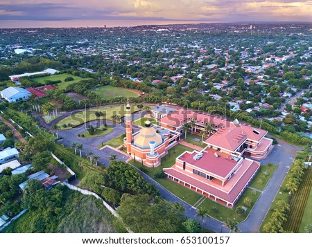 Cityscape of Managua city in Nicaragua at dusk time aerial view