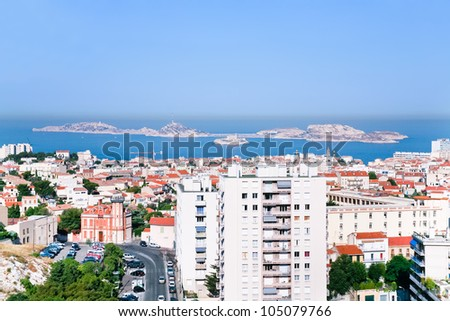 cityscape of Marseille and view on Chateau d'If near, France
