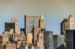 Cityscape of mid town Manhattan in New York city, in a sunny day.