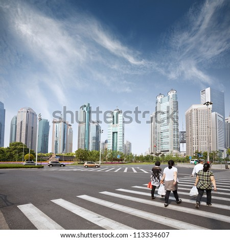 cityscape of modern city,shanghai with blue sky
