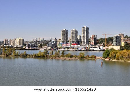 cityscape of New Westminster, BC - stock photo
