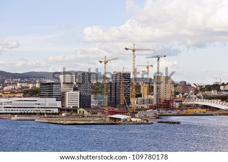 Cityscape of Oslo from ferry
