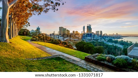 Cityscape of Perth Western Australia as the sun rises. The photo was taken in Kings Park