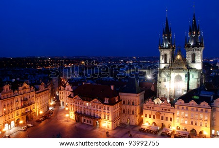 Cityscape of Prague, from the astronomical clock prague Czech, Europe