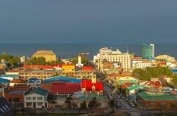 Cityscape of Punta Arenas at sunset, Patagonia, Chile.