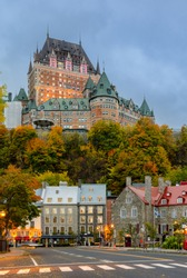 Cityscape of Quebec Lower Old Town at twilight during autumn season in Quebec, Canada.