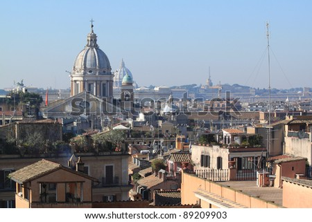 Cityscape of Rome, Italy. Famous city architecture. - stock photo